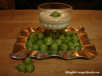 Gooseberry Fool on a cottage table