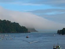 Mist over the river Dart in Dartmouth, Devon